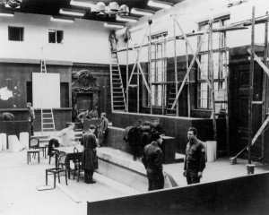 Rebuilding of Courtroom 600 for the International Military Tribunal, 1945.