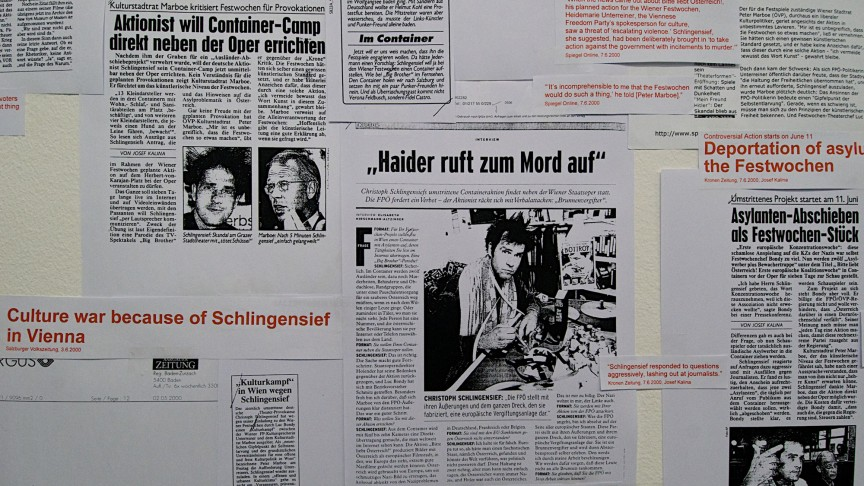 Former West | Ausländer raus - Bitte liebt Österreich, Pressedokumentationswand von Christoph Schlingensief | Zu sehen bei BAK, basis voor actuele kunst Utrecht 2012, kuratiert von Kathrin Rhomberg, Fear at the Core of Things