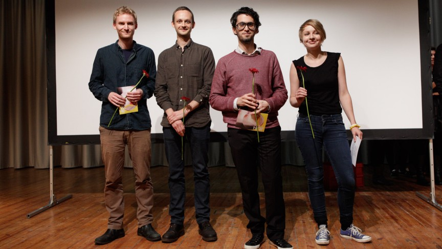Future Storytelling | Winners from left to right: Eirik Høyer Leivestad /Bård Hobæk (3rd Prize), Gabriel S. Moses (1st Prize), Linda Havenstein (2nd Prize) | Photo: Sera Cakal