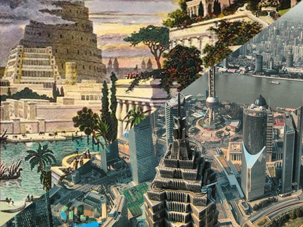 City - Religion - Capitalism | The Tower of Babel and the Hanging Gardens of Semiramis / Skyline of Shanghai | right: Joan Campderrós-i-Canas, CC BY 2.0, Collage