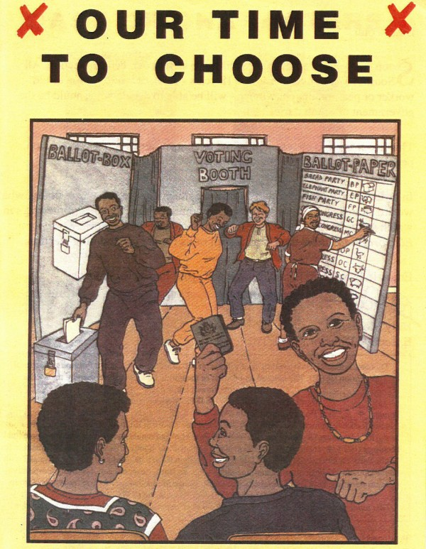 "Our time to choose | ""A Voter Education Comic Book"", produced by Matla Trust on behalf of the Independent Forum for Electoral Education"