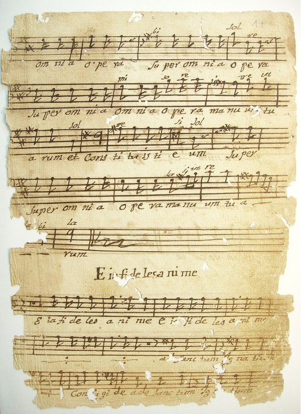 The tenor part from the Offertorium Gloria et honore by Jan Joseph Ignaz Brentner (1689–1742), copied in San Rafael, Chiquitos by the indigenous musician Pablo Surubis in the first decade of the 19th century. | © Archivo Musical de Chiquitos